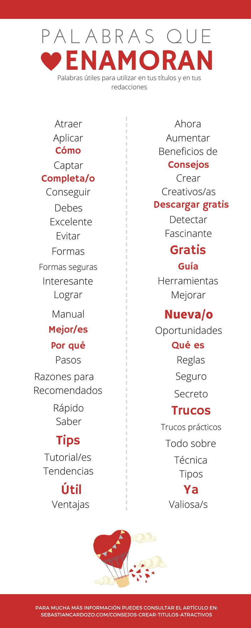 Infografia de palabras que enamoran